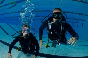 Open Water students in pool